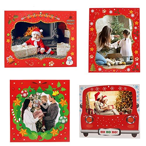 Belle Vous Portafoto Natale Addobbi Natalizi (20pz) - 4 Cornici Natalizie Stili Diversi per Natale Decorazioni Casa - Cornici di Carta per Decorazioni Albero di Natale, Decori Feste, Famiglia e Regali