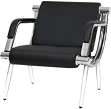 Worldrich Office Reception Chairs Waiting Room Chairs for Salon Barber Bench Airport Bank Hall Visitor Guest Black PU Leat...
