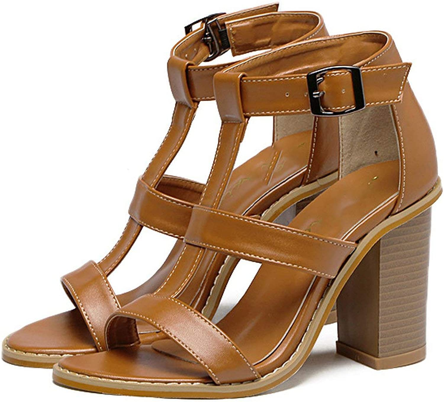 ALWAYS ME Women European and American top 40 Yards Thick with high Heels peep-Toe Brown shoes