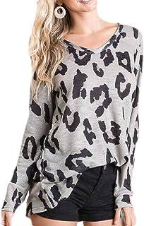 GUOCAI Women Plus Size Leopard Print Long Sleeve Knit Tops V Neck T-shirt Blouse