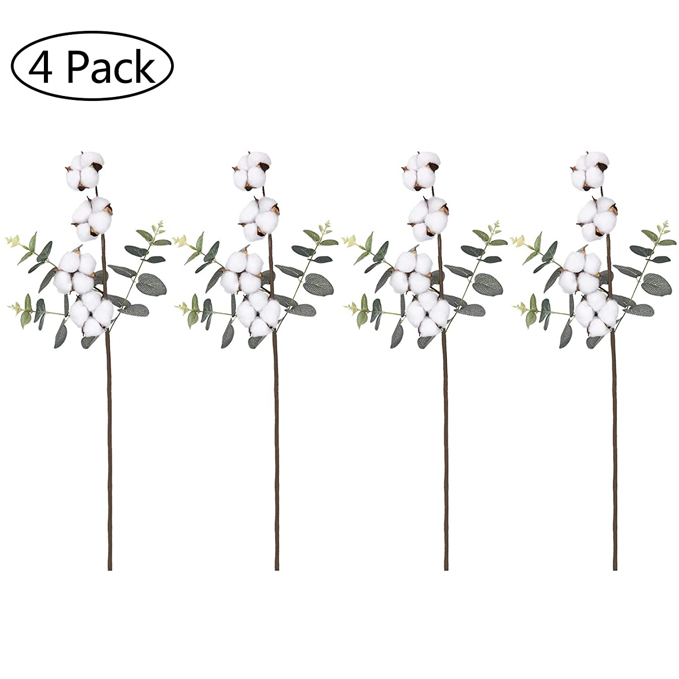 Sunm boutique Cotton Stems with Eucalyptus Leaves, 21 Inches Natural Cotton Spray Mixed Artificial Eucalyptus, Artificial Decorative Flower for DIY Party Home Decor(Set of 4)