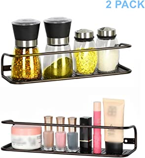 HEOMU Wall Mount Spice Rack Organizer for Cabinet. Space Saving Set of 2 Hanging Shelf for Spice Jars.Spice Storage for Pantry Door