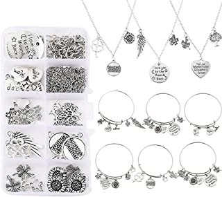COSYOO Jewelry Findings Kit Assorted Decorative Fashion DIY Creative Letter Charm Bracelets Kit Necklace Making Kit Adjust...