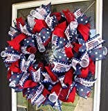 Patriotic USA 4th of July Deco Mesh Front Door Wreath, Memorial Day, Labor Day, Military, Fourth Decor, Indoor Outdoor, Porch Patio Decoration, RWB