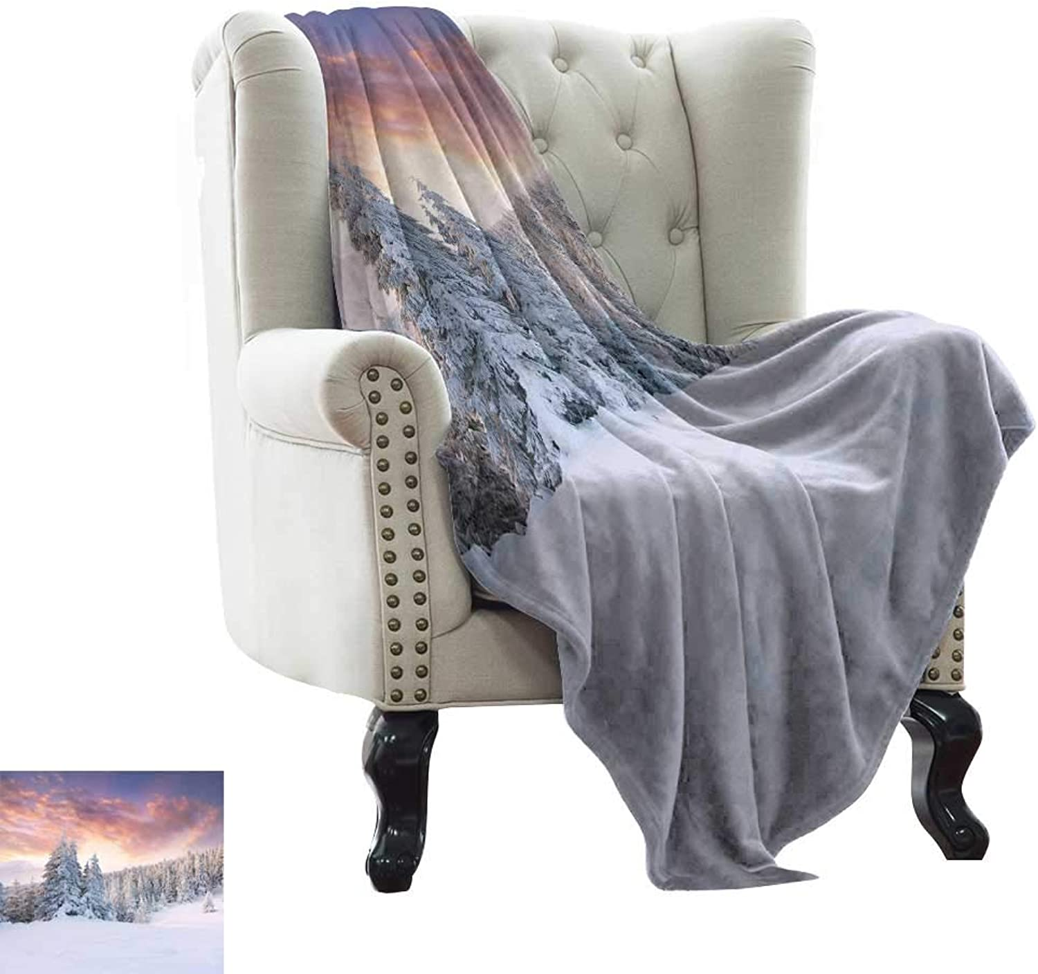 LsWOW Camping Blanket Winter,Sunrise in The Winter Landscape Snowy Fields Frozen Pine Trees Northern Hemisphere Reversible Soft Fabric for Couch Sofa Easy Care 60 x62