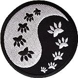 Parche bordado con diseño de huella de gato Yin y Yang, para planchar y coser en la ropa.