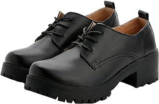 [APOSITV] レディース レースアップシューズ 厚底 ヒール 黒 靴 マニッシュシューズ オックスフォード