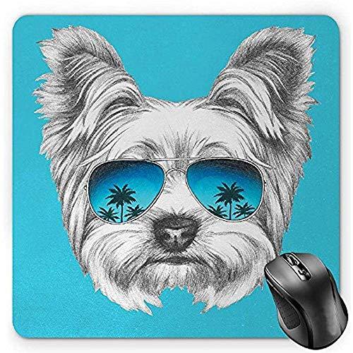 Yorkie Mouse Pad, Yorkshire Terrier Portret met Cool Mirror Zonnebril H Getrokken Leuke Dierenkunst, Mousepad,