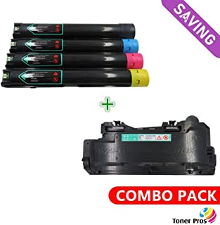 Toner Pros (TM) Compatible [Combo Pack] Toner for Xerox Versalink C7000 Printer (4 Color Pack) Black 10,700 and Colors 10,100 Pages (106R03757, 106R03758, 106R03759, 106R03760) + Waste Toner Bottle