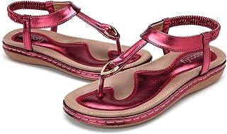 gracosy Sandales Plates Femmes, Chaussures de Ville Été à Talons Plats Tongs Claquettes avec Semelle Matelassée Bout Ouver...