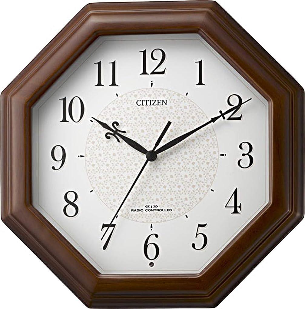 記念サイレント繁栄するシチズン 掛け時計 電波 アナログ ネムリーナメイト 八角 小型 木 茶 (半艶仕上げ) CITIZEN 4MYA30-006