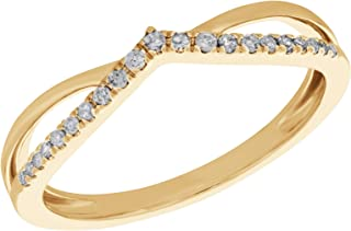 0.11 Carat Round Natural Diamond Wishbone Ring Crafted In 14k Gold