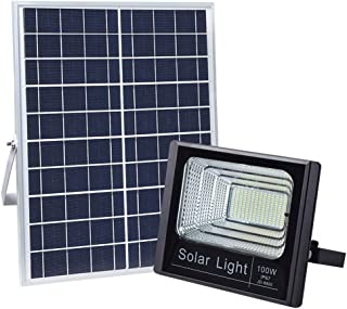 100W Solar Flood Lights Outdoor, JINDIAN 196 LEDs IP67 36000mAH 5m Wire Solar Flood Lights with Remote Control for Sign, Basketball Field, Yard, Garden, Gutter, Pathway Street Area Lighting (1PACK)