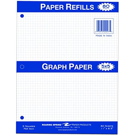 11 x 8.5 80 sheets Roaring Spring Quad Filler Paper 5x5 Graph Ruled