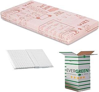 EVERGREENWEB Barnmadrass 70 x 160 cm hög 12 cm säng eller spjälsäng + gratis stötdämpande kudde med vitt foder i 100 % nat...