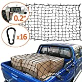 AASHADEL 4'x6' Bungee Gargo Net Stretches to 8'x12', Tangle-Free 16 Pcs Clip Carabiner, Small 4'x4' Mesh Holds Small and Large Loads Tighter, for SUV,ATV/UTV,RV,Pickup Truck Bed,Trailer Sold by WZQH
