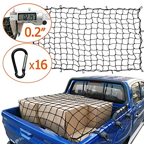 AASHADEL 4#039x6#039 Bungee Gargo Net Stretches to 8#039x12#039 TangleFree 16 Pcs Clip Carabiner Small 4quotx4quot Mesh Holds Small and Large Loads Tighter for SUVATV/UTVRVPickup Truck BedTrailer Sold by WZQH