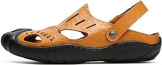 2019 Mens Fashion Sandals Men's Genuine Leather Beach Summber Sandals (Color : Orange, Size : 6.5 UK)