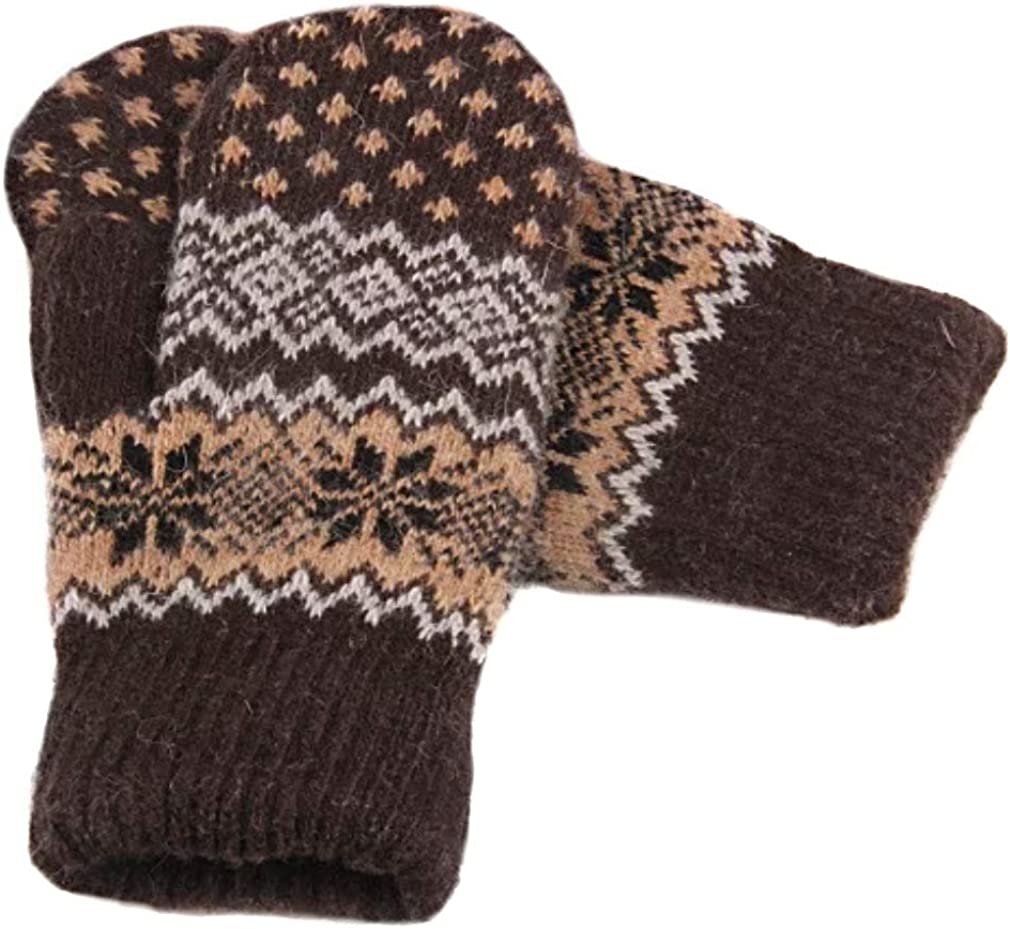 Saltique Bernie Sanders inspired Handcraft Knit Mittens inauguration Day, Cozy Wool Knit Thick Gloves Novelty Crochet Winter Mittens fair Isle Mittens, One Size, Brown