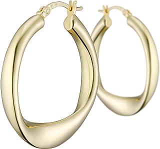 925 Bijoux en argent Unique Grand Plat U Forme Femmes Boucles D/'oreilles Créoles EY001