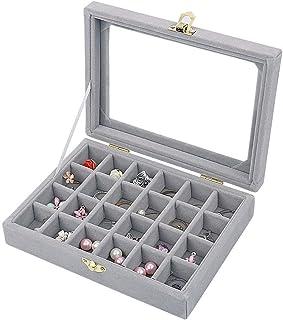 BUCKETLIST® Earring Storage Case 24 Compartments Ring Velvet Display Case Box Earring Ring Organizer Velvet Jewelry Tray C...