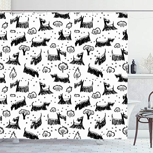 TETUDA Shower Curtain 72x72 Inches Dog Cute Bush Scottie Funny Scottish Doodle Doggy Scotch Mammal Terrier Fluffy Footprint Sketch Bathroom Waterproof Polyester Fabric Bath Decor Set with Hooks