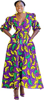 Women's African Floral Printed Long Dress Short Sleeve Fashion Maxi Dresses with Pockets