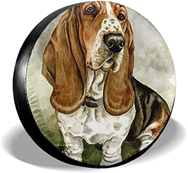 Basset-Hound-Rubber-Coaster-Set Wheel Cover with PVC Leather Waterproof Dust-Proof Fit for Jeep Trailer RV SUV Camper and Vehicle Belleeer Spare wheel cover