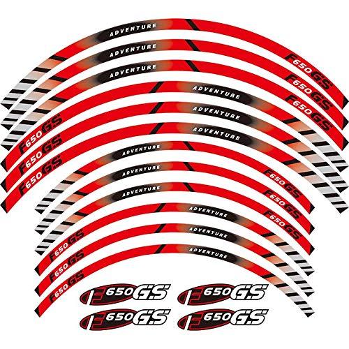 Calcomanías de la rueda de la motocicleta Pegatinas reflectantes Riadas de llanta para BMW F650GS Adventure 19''17 '' F650 GS F650 (Color : 1)
