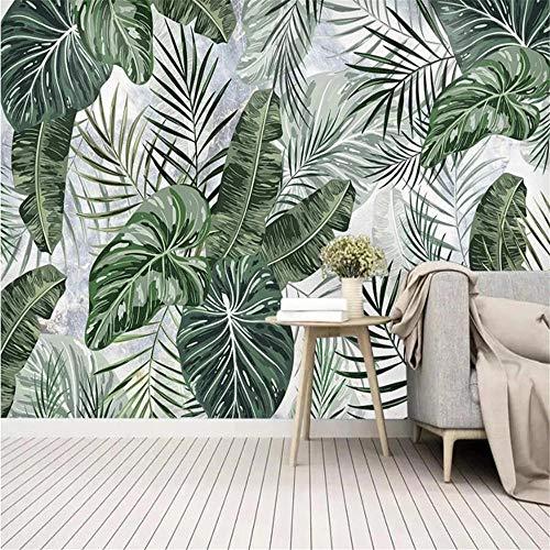 Pink world Murales Papel Tapiz de Pared de Fondo de Pintura de decoración de Dormitorio de TV de patrón de mármol de Hoja de Bosque Tropical-Aproximadamente 430 * 300 cm