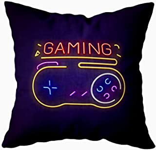 TOMKEY Farmhouse Pillow Cases,Hidden Zippered 18X18Inch Glowing Neon Sign Big Retro Buttons Gaming Letters Glowing in Colors Decorative Throw Cotton Pillow Case Cushion Cover for Home Decor,Black Blue