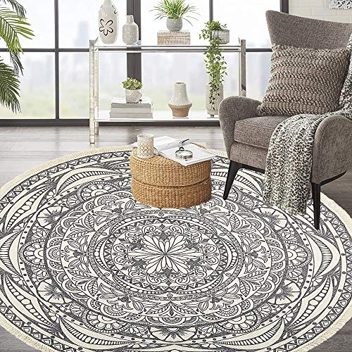 HEBE 4 Ft Round Area Rugs Washable Chic Bohemian Mandala Hand Woven Cotton Round Rug with Tassels Indoor Throw Area Rug Circle Carpet for Living Room Kids Room
