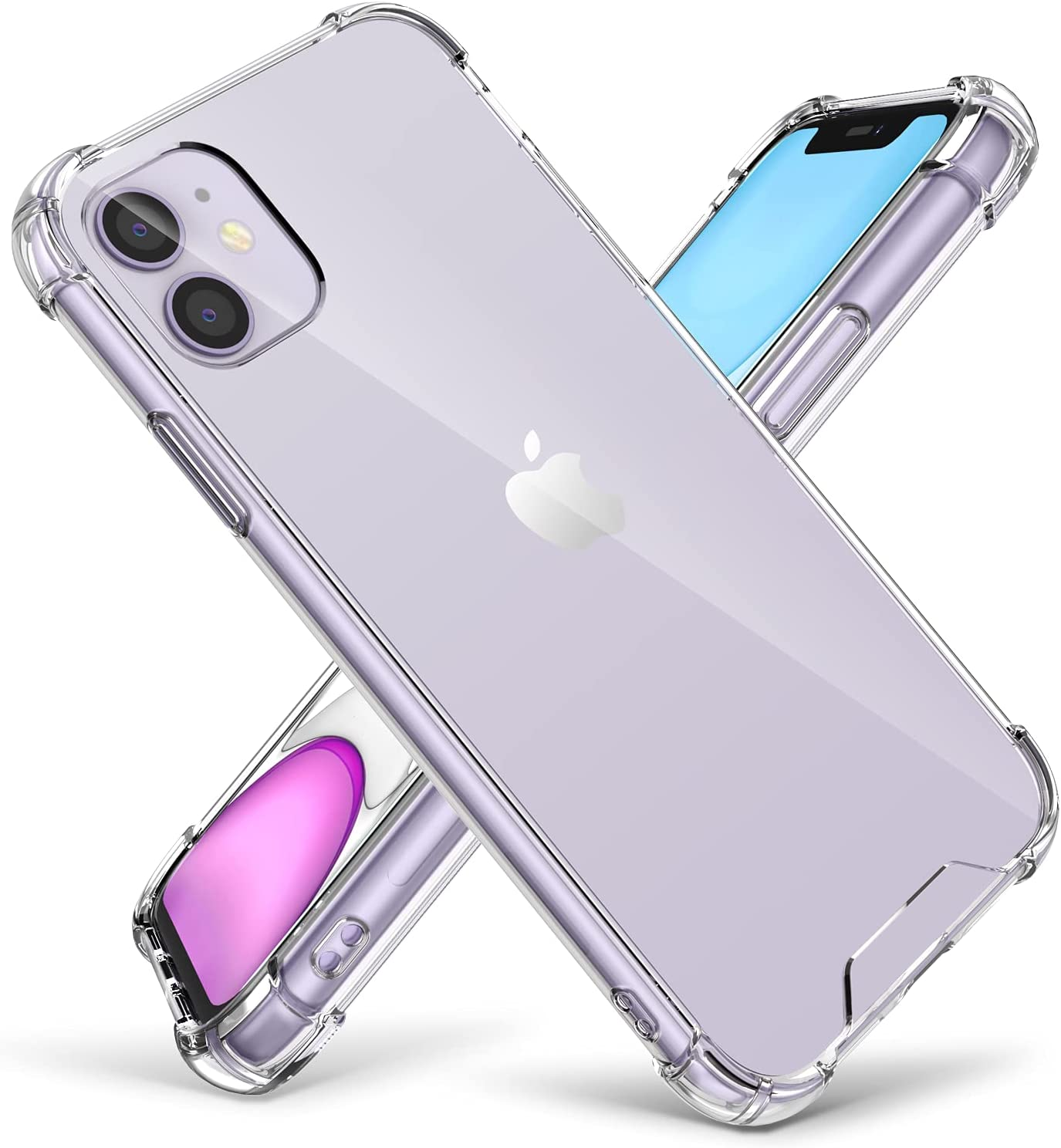 Cutebe Clear Case for iPhone 11,Cutebe Shockproof Series Hard PC+ TPU Bumper Protective Cover for iPhone 11 6.1 Inch (Crystal Design)