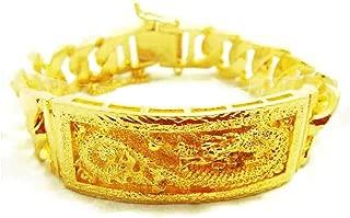 Dragon Thai Gold Plated Bangle 24k Thai Baht Yellow Gold Filled Bracelet 7.5 Inch 70 Grams 20 mm
