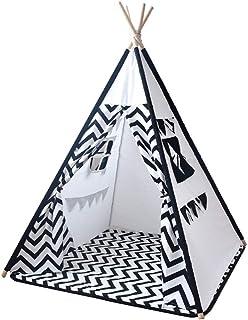 IREANJ Barn leka tält barn tält baby fotografi rekvisita tält svarta ränder vikbar bomull canvas spel tält med matta leksa...