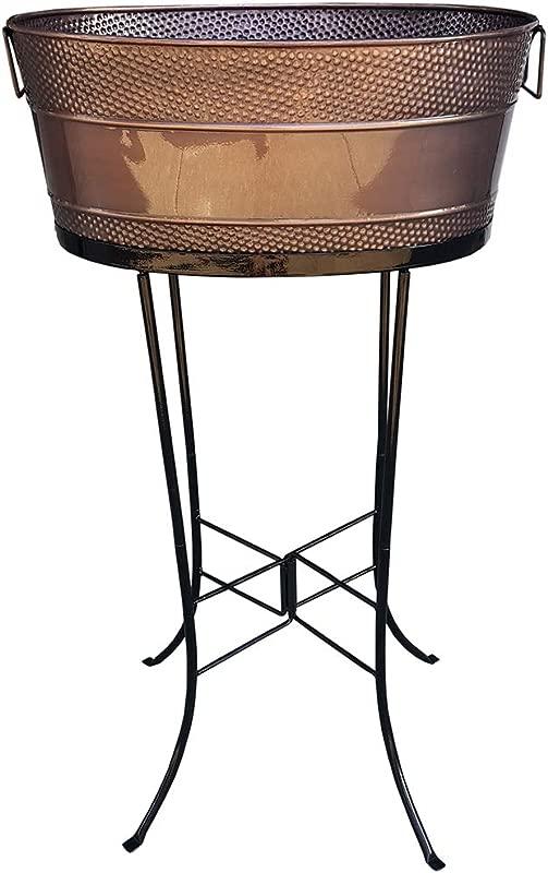 BREKX Copper Finish Aspen Hammered Galvanized Beverage Tub With Stand 25 Quart