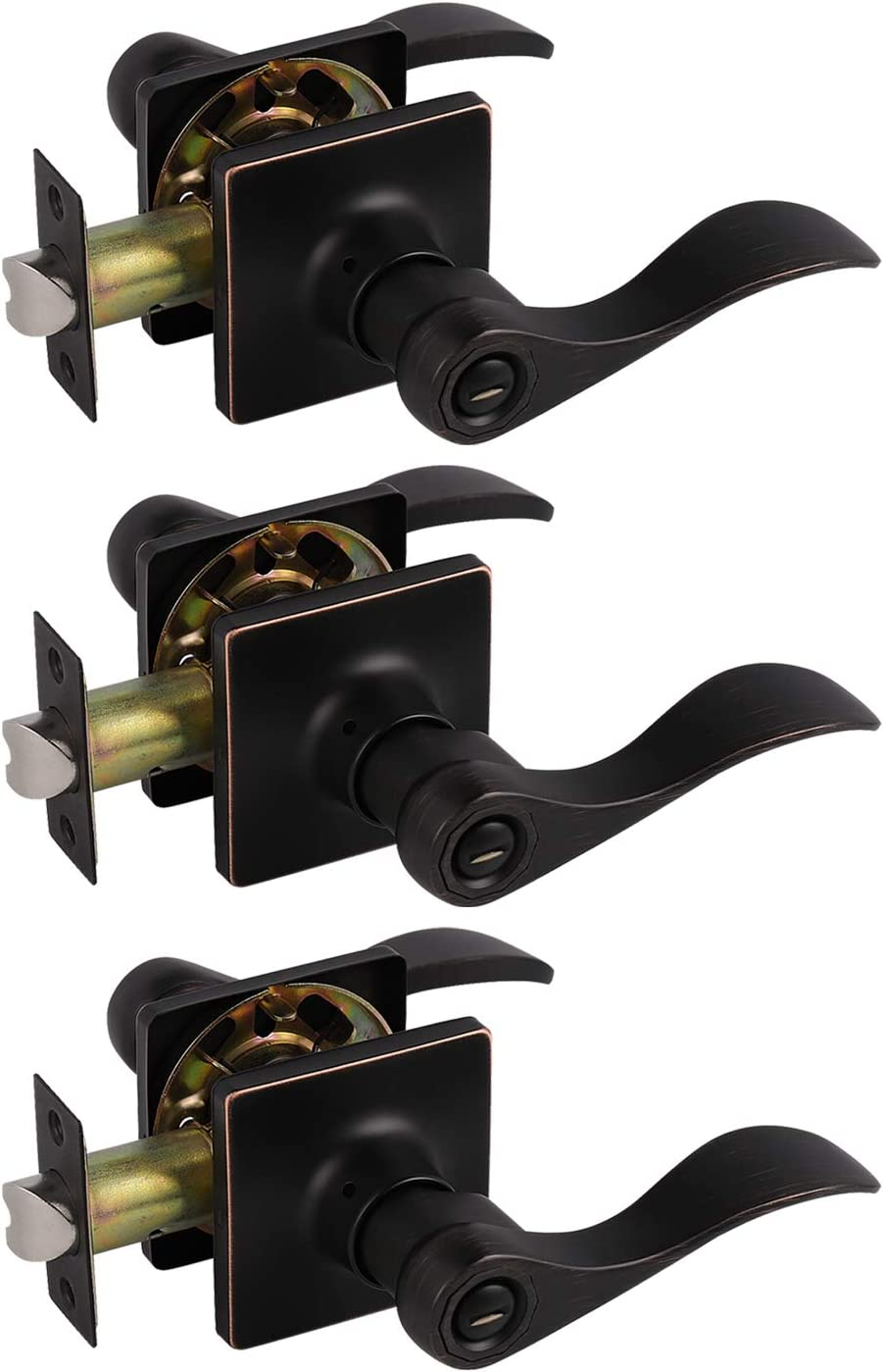 1 Pack Probrico Decorative Inactive Left Handed Lever in Oil Rubbed Bronze Square Rosette Single Dummy Door Handle with a Traditional Wave Design for Interior Hall Closets or Pantry Doors
