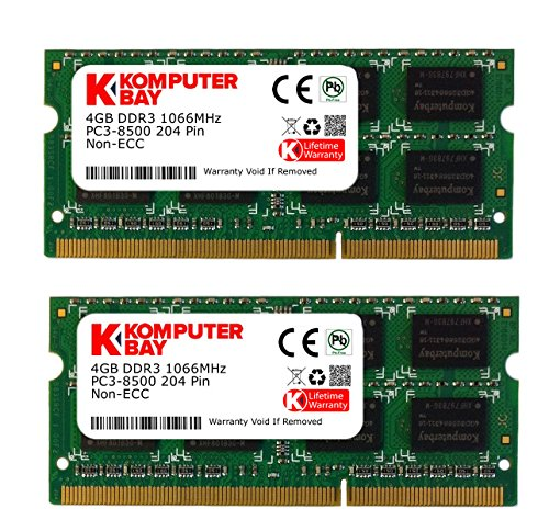 Komputerbay Placas de Memoria 8GB (2x 4GB) DDR3 SODIMM (204 pines) 1066Mhz PC3 8500 8 GB