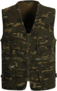 Mens Camo Waistcoat Multi-Pocket Vest Outdoor Photography Camping Hunting Fishing Gilet