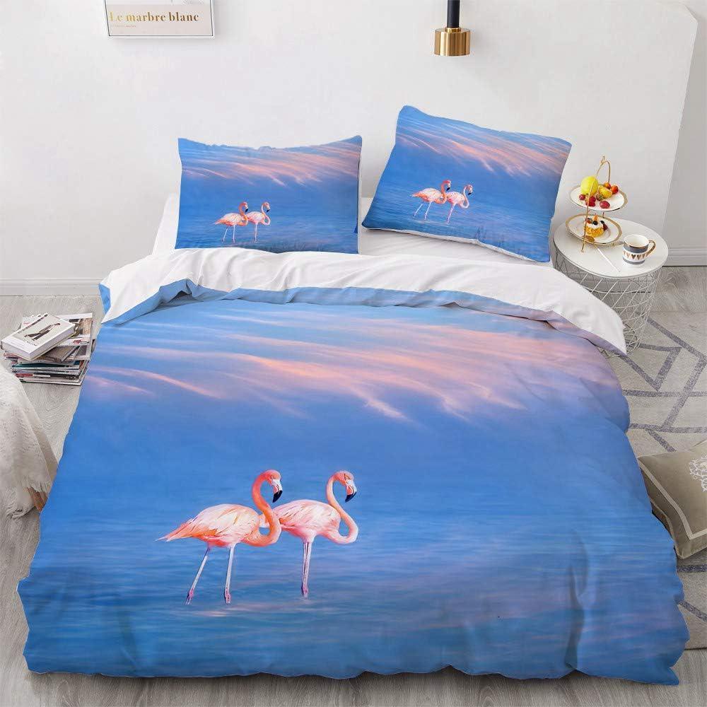 Flamingo Bedding Set Very popular! -Soft Factory outlet Pink Blue Duvet Cover Dark