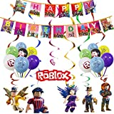 Allber Roblox Party Hanging Swirls Roblox Anniversaire Bannière Ballons Whirl Streamers Suspendus Swirl Plafond Décorations Fête d'anniversaire Plafond Banderoles Roblox Party Supplies pour Enfants