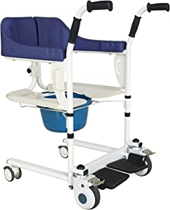 PHASFBJ Multifunctional Patient Transfer Chair,Nursing Lift Wheelchair,with Toilet and Cushion,Medical Waterproof Lift Machine,for Patient,Elderly etc,Basic Version