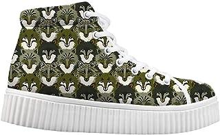Canvas High Top Sneaker Casual Skate Shoe Boys Girls Rainbow Unicorn Panda Bear On Cloud