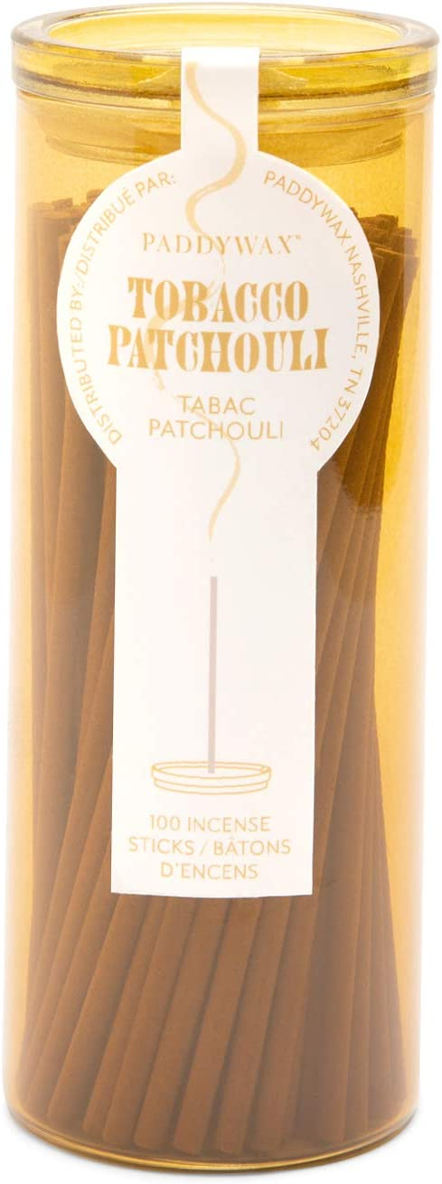 Paddywax Haze Collection Incense Sticks in Glass Jar, 100-Piece, Tobacco Patchouli, 100 Count