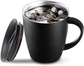 Taza de café de acero inoxidable, taza de viaje de café de reserva de calor frío con tapa para el hogar de oficina Camping para bebidas calientes de frío