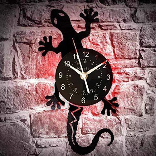 Antique Nature Art Zoology Lizard Reloj de pared Safari Gecko Vinyl Record Reloj de pared Silueta Animal salvaje Icono Reloj vintage