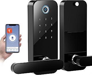 Smart Coolous Tuya قفل هوشمند ، اثر انگشت قفل درب 4 در 1 باز کردن صفحه لمسی بلوتوث APP بدون قفل قفل درب ورودی برای دفتر خانه هتل آپارتمان سازگار با الکسا