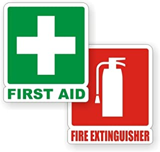 2 PCs Important Unique First Aid Fire Extinguisher Window Stickers Sign Luggage Laptop Graphics Safety Emergency Home Wall Vinyl Art Sticker Size 4 3/4