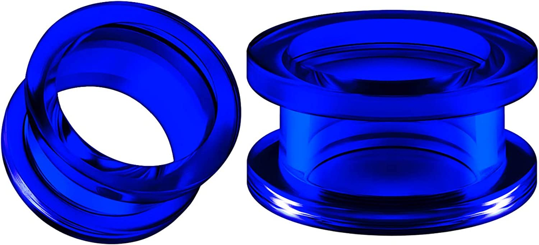 BIG GAUGES Pair of Blue Acrylic Flesh Tunnels External Piercing Jewelry Stretcher Screw-fit Ear Plugs Earring Lobe