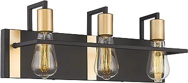 METWET 3-Light Bathroom Vanity Light Fixture Over Mirror Wall Lights, Black Bathroom Lighting Fixtures with Gold, Vintage Wal